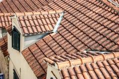 Alte mit Ziegeln gedeckte Dächer Stockfotografie