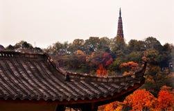 Altes mit Ziegeln gedecktes Chi Dach Baochu Pagoden-Westsees Hangzhou Zhejiang Lizenzfreies Stockfoto