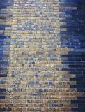 Alte mit Ziegeln gedeckte Wand mit babylonic Zeichen Stockfotografie