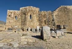 Alte mittelalterliche Kirche an der Lindos Akropolise, Rhodos lizenzfreie stockbilder