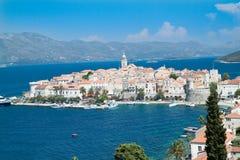 Alte mittelalterliche Stadt Korcula - Panorama. Kroatien Stockfotografie