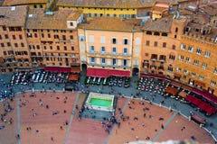 Alte Mittestadt Siena der Vogelperspektive in Toskana Stockfotografie