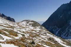 Alte montagne in autunno, Slovacchia di Tatra Fotografie Stock