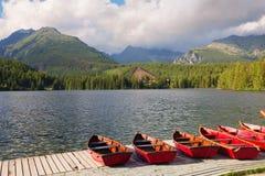 Alte montagne che rimbalzano nelle acque del lago Immagine Stock