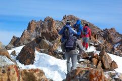 Alte montagne che treking gruppo Fotografia Stock Libera da Diritti