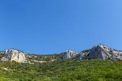 Alte montagne e foresta verde sul chiaro cielo blu Fotografie Stock Libere da Diritti