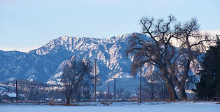 Alte montagne su una mattina dello Snowy Fotografie Stock