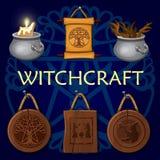 Alte mystische Symbole der Hexerei, dunkler Hintergrund vektor abbildung