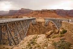 Alte Navajo-Brücke, die den Colorado an der Marmorschlucht überspannt Lizenzfreie Stockfotos