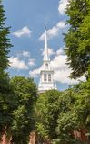 Alte Nordkirche und die Mitternachtsfahrt von Paul Revere Lizenzfreie Stockfotos