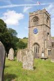 Alte normannische Kirchenblauuhr Stockfotografie