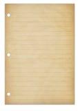 Alte Notizblockseite Stockbild