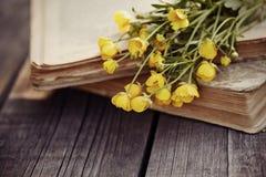 Alte offene Bücher und Butterblumeen auf einem Holztisch Lizenzfreies Stockfoto