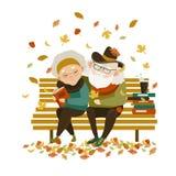 Alte Paare in der Liebe, die auf Bank sitzt vektor abbildung