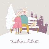 Alte Paare im Winter-Hintergrund Stockbild