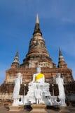 Alte Pagode und Buddha-Bild in Wat Yai Chaimongkol-Tempel, Ayutthaya Thailand lizenzfreie stockbilder