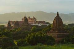 Alte Pagoden Bagan bei Sonnenuntergang, Mandalay-Region, Myanmar Stockfoto