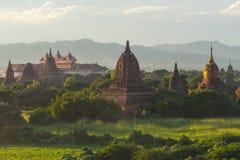 Alte Pagoden Bagan bei Sonnenuntergang, Mandalay-Region, Myanmar Stockfotografie