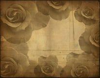 Alte Papierbeschaffenheit, Rosen Lizenzfreie Stockbilder