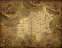 Alte Papierbeschaffenheit, Rosen Lizenzfreie Stockfotos