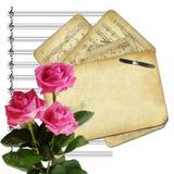 Alte Papiere für Auslegung auf musikalischem Hintergrund Stockbild