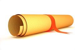 Alte Papierrolle mit rotem Streifen Stockfoto