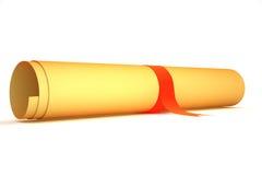 Alte Papierrolle mit rotem Streifen. Vorderansicht. Stockfotos