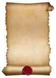Alte Papierrolle oder Manuskript mit Wachssiegel lizenzfreie stockfotos