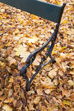 Alte Parkbank mit gefallenem gelbem Herbstlaub Stockfotografie