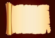 Alte Pergamentgoldrolle gorizontal Stockbild