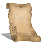 Alte Pergamentrolle mit Dekorationen lizenzfreie abbildung