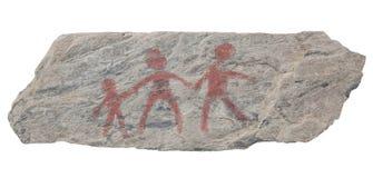 Alte Petroglyphefelsen-Kunstfamilie stockfotos