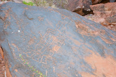 Alte Petroglyphen - Nationalpark Talampaya - Argentinien Stockbild