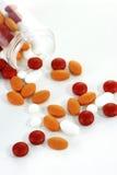 Alte pillole e bottiglia chiave Fotografia Stock