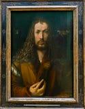 Alte Pinakothek - μόνος-πορτρέτο του Albrecht Durer ` s στο παλτό γουνών Στοκ Εικόνες