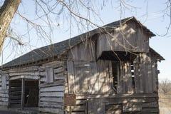 Alte Pionierklotzscheune, Eichenholzabstellgleis, historisch, Bauernhof, West, Lizenzfreies Stockfoto
