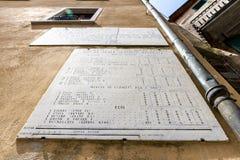 Alte Plakette des metrischen Systems in Campiglia Marittima, Toskana, Italien lizenzfreies stockfoto