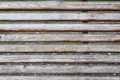 Alte Planken auf einer Holzbank Stockfotografie