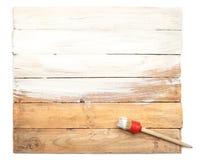 Alte Planken mit Hälfte von ihr malten im Weiß Lizenzfreies Stockfoto