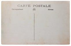Alte Posten cardâs Rückseite getrennt Lizenzfreie Stockfotografie