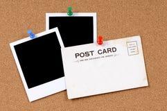 Alte Postkarte mit leeren Fotodrucken Stockbild