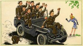 Alte Postkarte mit Soldaten lizenzfreie stockbilder