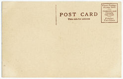 Alte Postkarte-Rückseite Stockfoto