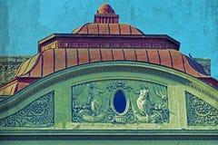 Alte Postkarte von einem historischen Gebäude Timisoara Stockfotografie