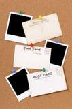 Alte Postkarten mit leeren Fotodrucken Stockbild