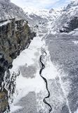 Alte precipitazioni nevose alpine nelle alpi francesi Fotografia Stock Libera da Diritti