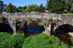 Alte römische Brücke mit Blumen Lizenzfreies Stockbild