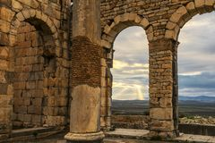 Alte römische Ruinen in Volubilis Marokko Lizenzfreies Stockbild