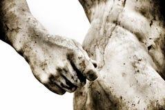 Alte römische Statue mit etwas Korn hinzugefügt stockbild