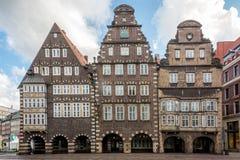Alte Reihenhäuser am Marktplatz in Bremen, Deutschland Stockbild
